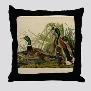 Audubon Mallard duck Bird Vintage Print Throw Pill